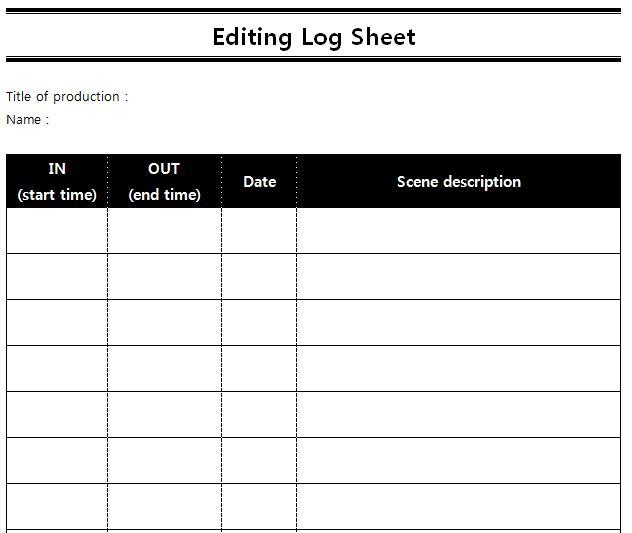 Logging sheets for editing | SEUNGYEON HAN
